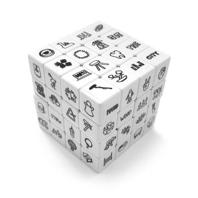 One of the Rubiks cubes, which boost creativity by combining random objects.